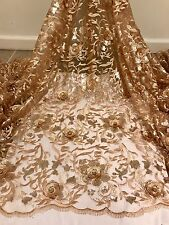 "GOLD EMBROIDERY SEQUINS RHINESTONE BEIDAL LACE FABRIC 50"" WiIDE 1 YARD"