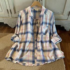 2X-Plus-Size-Boho-Plaid-Button-Front-Long-Sleeve-Tunic-Blouse-Womens-039-s-New-XXL