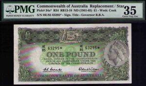 Australia-QE-1961-ONE-Pound-star-note-Replacemen-PMG-35-CHOICE-VF-PICK-34a-R34