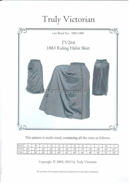 Truly Victorian 1883 Riding Habit Train Skirt Sewing Pattern TV264 ...