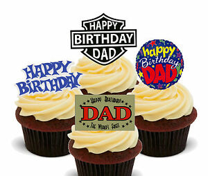 Image Is Loading Happy Birthday Dad Edible Cupcake Toppers Stand Up