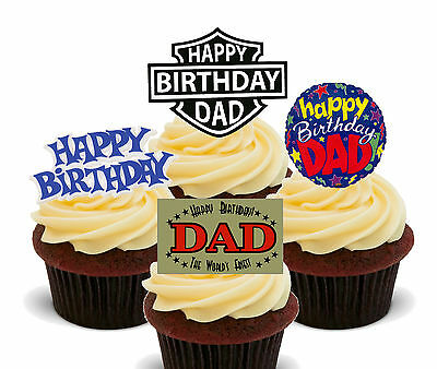 12 Grandad Happy Birthday Cupcake Toppers Ricepaper Cake Decorations cut