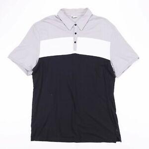 Vintage-Calvin-Klein-Noir-Bloc-Couleur-Casual-Polo-Shirt-Taille-Homme-XL