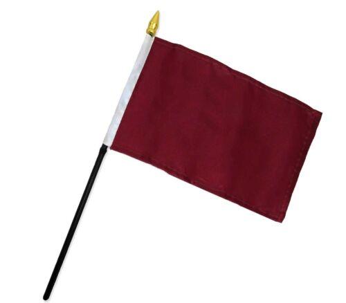 """Wholesale Lot 6 Burgundy Plain Solid Color 4/""""x6/"""" Flag Desk Table Plastic Stick"""