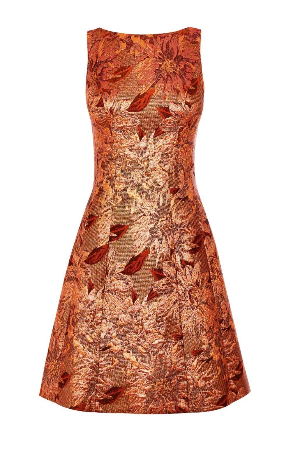 Karen Millen Or Rose Floral Jacquard Robe-Taille UK 10 sold out
