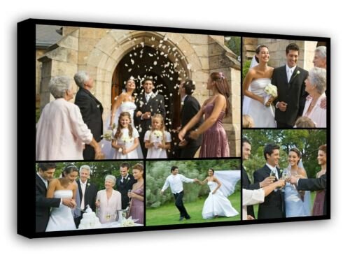 Ready to hang f109 Personalised Framed Canvas Collage Print Photo Image Picture