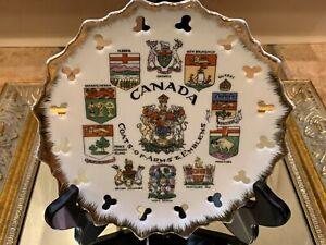 CANADA-ONTARIO-ALBERTA-QUEBEC-COAT-OF-ARMS-amp-EMBLEMS-SOUVENIR-PLATE-VINTAGE