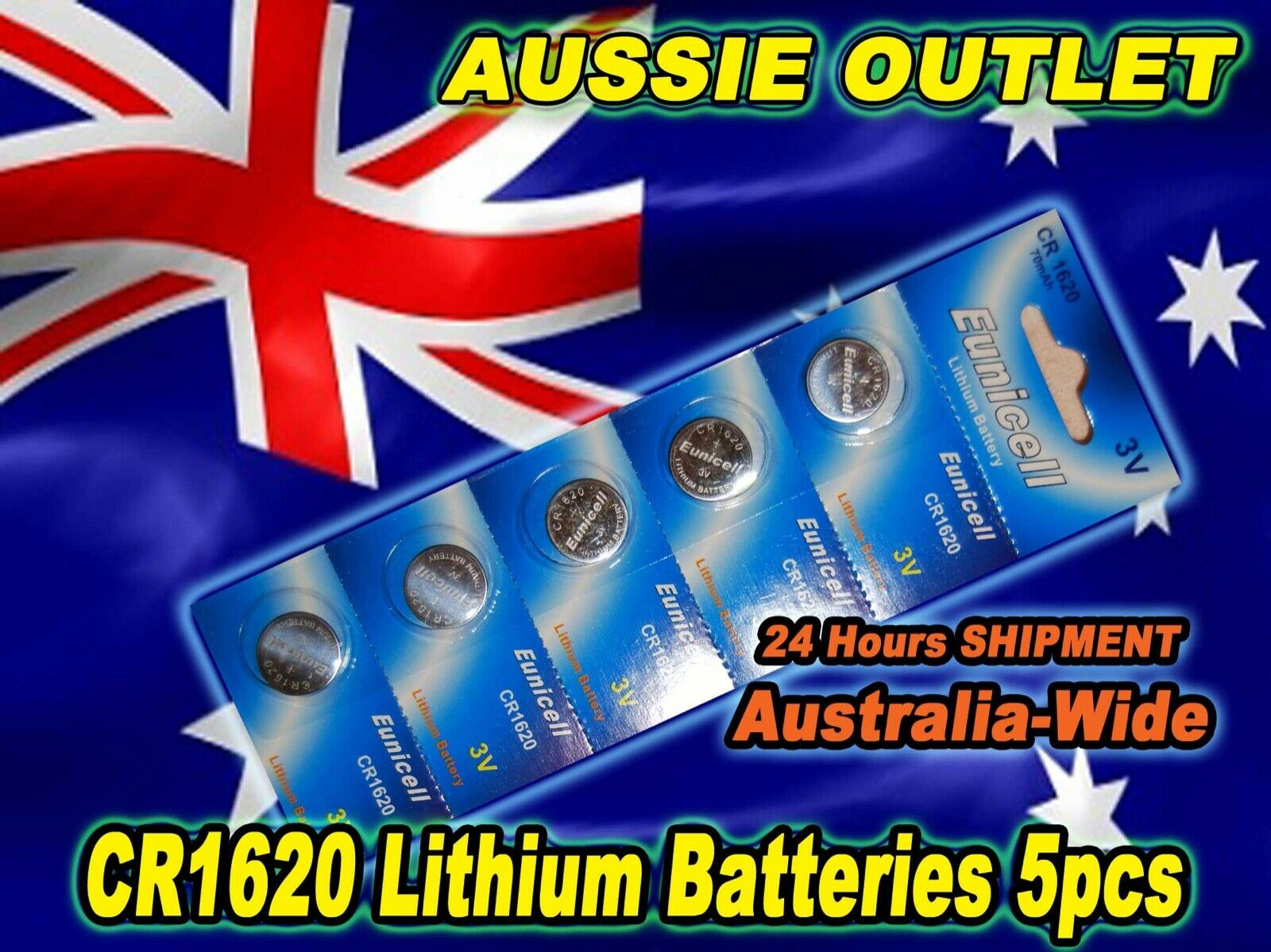Quick Delivery 5 pcs. CR1620 3V Eunicell Lithium Batteries - Stock in Australia