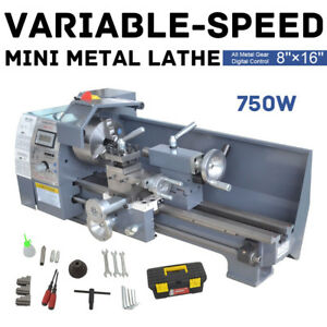 Details about 110V 8 x 16 750W Variable-Speed Mini Metal Lathe Bench Top  Digital Top Quality