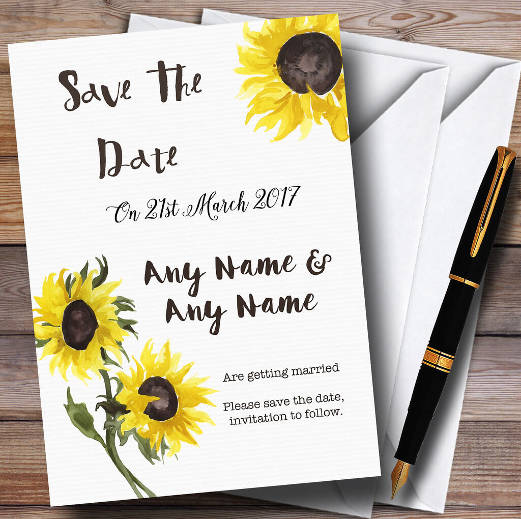 Stunning Watercolour Sunflower Personalised Wedding Save The Date Cards