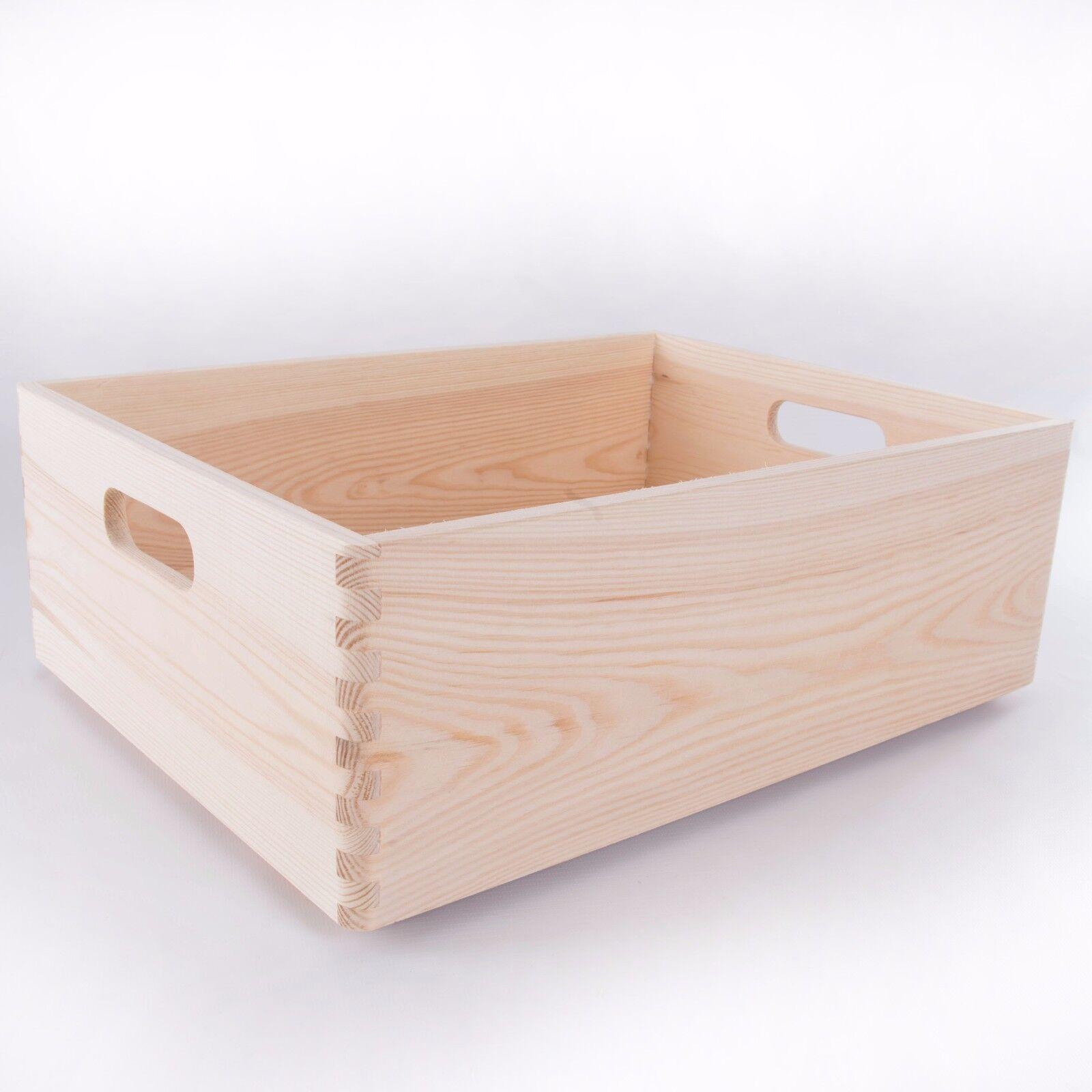 GRANDE In Legno Impilabile Stoccaggio Cassa con maniglie Toy Ricordo Box Craft