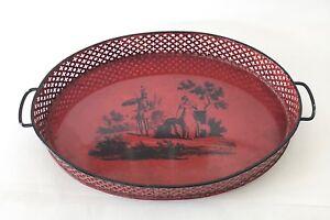 Vintage-Metal-Tray-Red-Handpainted-Medieval-Scene-Perforated-Basket-Style-Rim