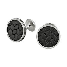 Montblanc Monograin Steel Cuff Links with Leather Inlay 111324
