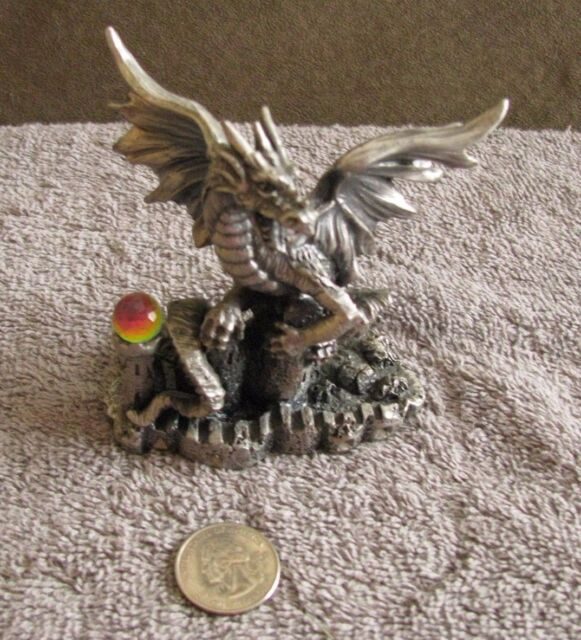"DRAGON/'S KEEP    Dragon on Castle  Statue   H8/"""