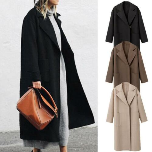 Ladies Y Jacket Parka Coat Winter Outwear Lapel Womens Trench Wool Lang Overcoat PwrTPq