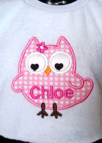 ANY NAME MADE TO ORDER GREAT BABY GIFT PINK OWL PERSONALISED BABY BIB