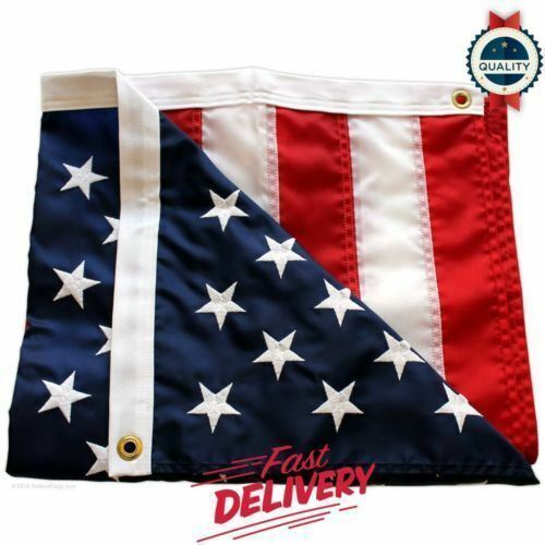 3/' x 5/' FT Embroidered U.S.A American Flag with Brass Grommets new HIGH QUALITY