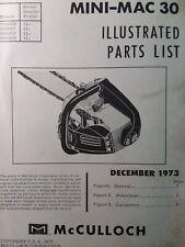 Mcculloch Chain Saw Mini Mac 30 Parts Manual 2 Cycle Gasoline Chainsaw 1973