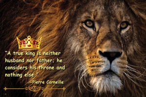 Details about Lion King with Pierre Corneille quote 24 x 36 inches