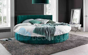 Image Is Loading Emerald 6ft6 Round Bed With Padded Headboard 200cm