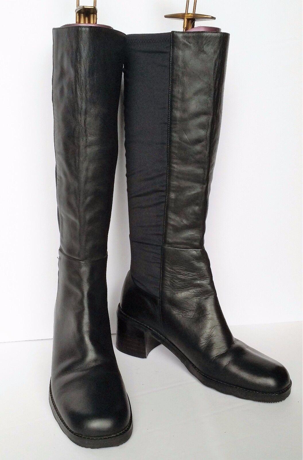 Divertente Women's Size 7 M Black Leather Kneehigh Boots Stretch Sides