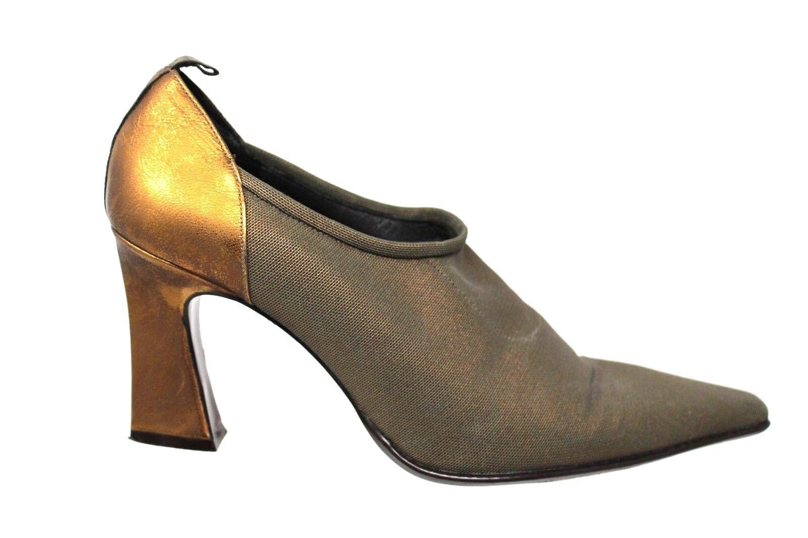 Donald J Pliner MENIA Bronze Stretch Fabric Leather Pumps Heels Size 8.5