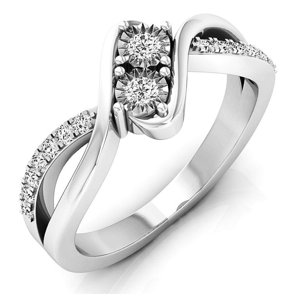 0.25 CT 10K White gold Round White Diamond Two Stone Bridal Engagement Ring