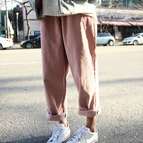 Vintage Womens Corduroy Trousers Baggy Loose Wide Leg Pants Casual BF Oversize