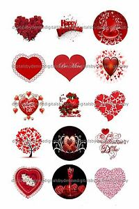 Red Valentine 1 Circles Bottle Cap Images 2 45 5 50 Free