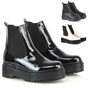 Mujer-Botas-al-Tobillo-Chelsea-Damas-Punk-Plataforma-Tirar-De-Grueso-Botines-Zapatos-2-8