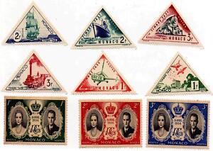 1956-Monaco-Royal-Wedding-Commemorative-amp-Triangle-Stamps-Mint-MNH-Antique-Set