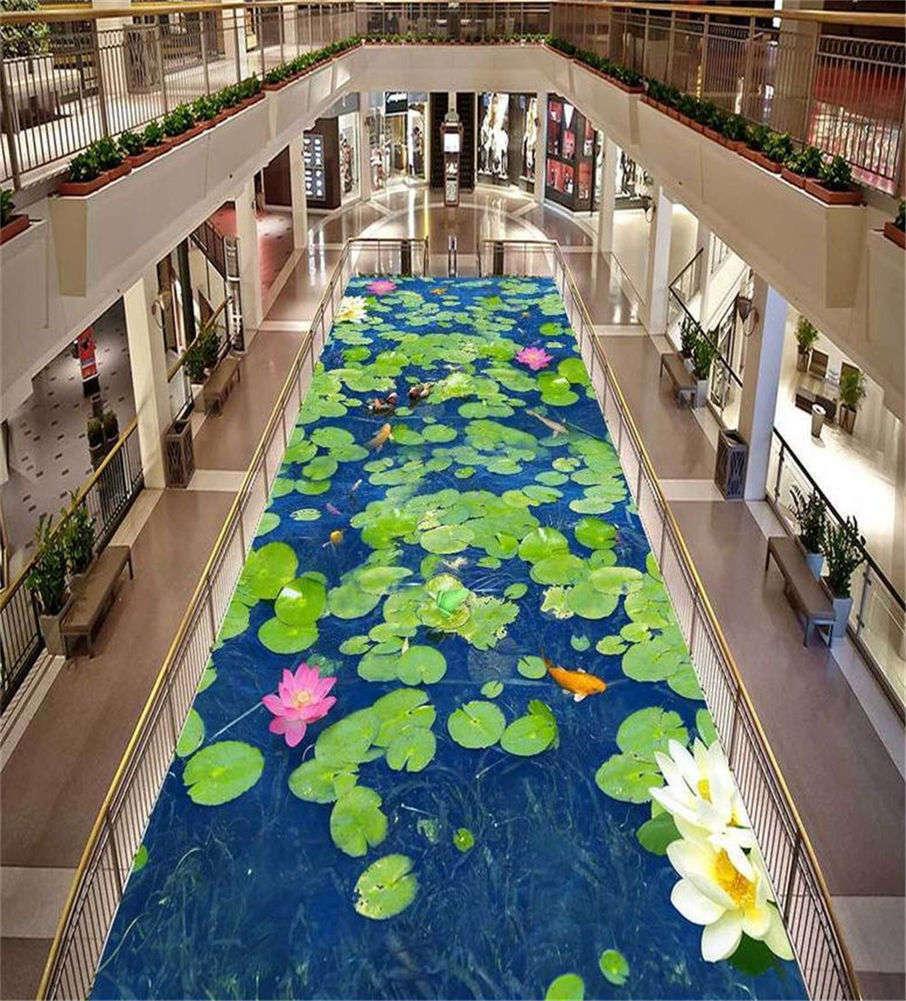 Grün Lotus Pond 3D Floor Mural Photo Flooring Wallpaper Home Print Decoration