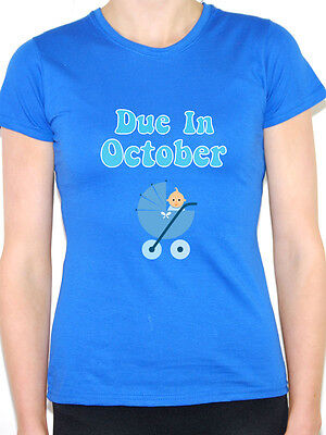 DUE IN OCTOBER - Baby Boy / Pregnant / Pregnancy / Blue Themed Womens T-Shirt