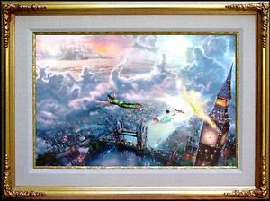 Thomas-Kinkade-RARE-STUDIO-PROOF-Peter-Pan-Tinker-Bell-18x27-Disney-Canvas