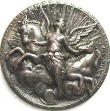 """AUTHENTIC! 1940s FRENCH METAL""""AURORA GODDESS-HORSES OF APOLLO"""" VINTAGE BUTTON"""