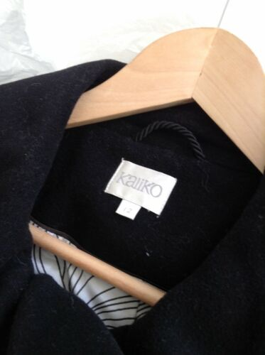 12 largo Lovely Coat Wool Black Kaliko maniche e taglia con Nwot Short collo xqpaUg