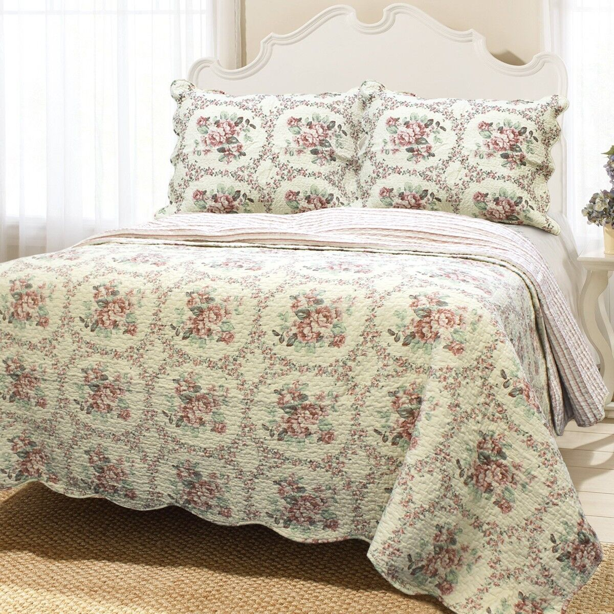 Reminiscent Mood rot 3-Piece Cotton Quilt Set, Bedspread, Coverlet
