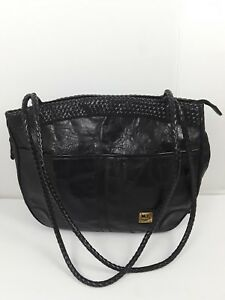 M.C. MC Handbag Leather Black Tote Purse Bag With 2 Long Straps.  3dc873867db7a