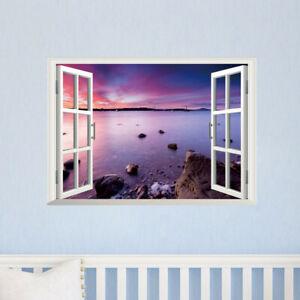 3D-Meer-Landschaft-Fensterbild-Wandsticker-Wandtattoo-See-Insel-Wandaufkleber