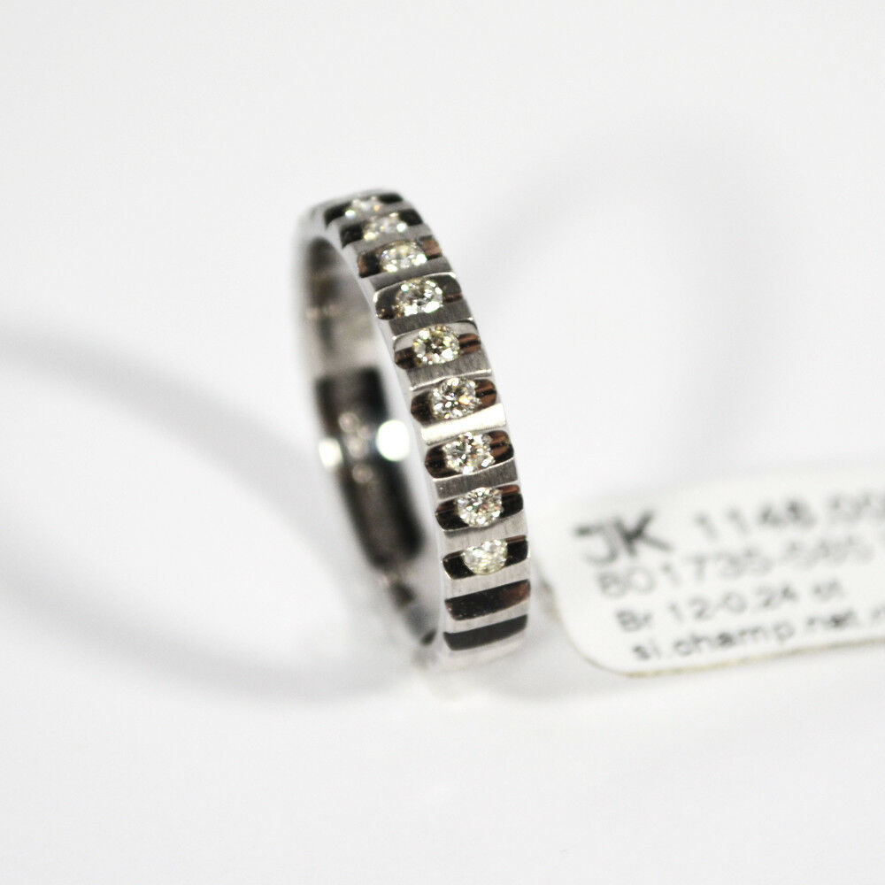 585 whitegold Ring. 12 Brillanten 0,24ct. Si Cham Gr.52 UVP  Made in Germany