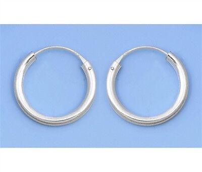 3.5 in Genuine Sterling Silver 925 Continuous Hoop Earrings 2.5 mm x 90 mm