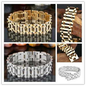 Silver-Gold-Stainless-Steel-Cool-Men-039-s-Chain-Link-Bracelet-Wristband-Cuff-Bangle