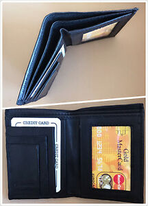 New-Mens-Black-Bifold-Leather-Wallet-Multi-Pocket-Window-id-Card-Holder
