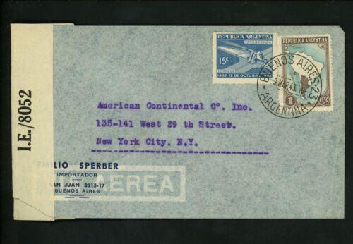 Postal History Argentina Scott #498+504 Censor Airmail 1943 Buenos Aires to NY