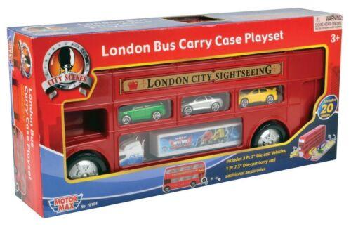 Bus Londonien Carry Case Playset avec voitures et accessoires.