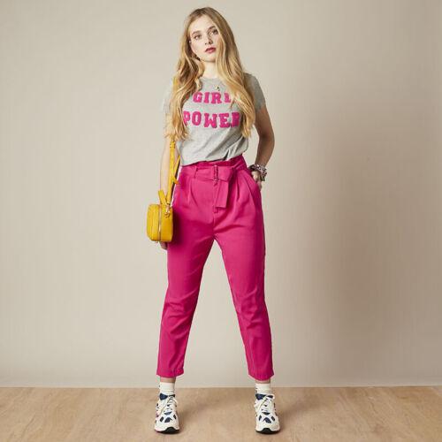 Damen Hose Paperbag Paper Bag Hose Highwaist Bundhose High Waist pink Stoffhose