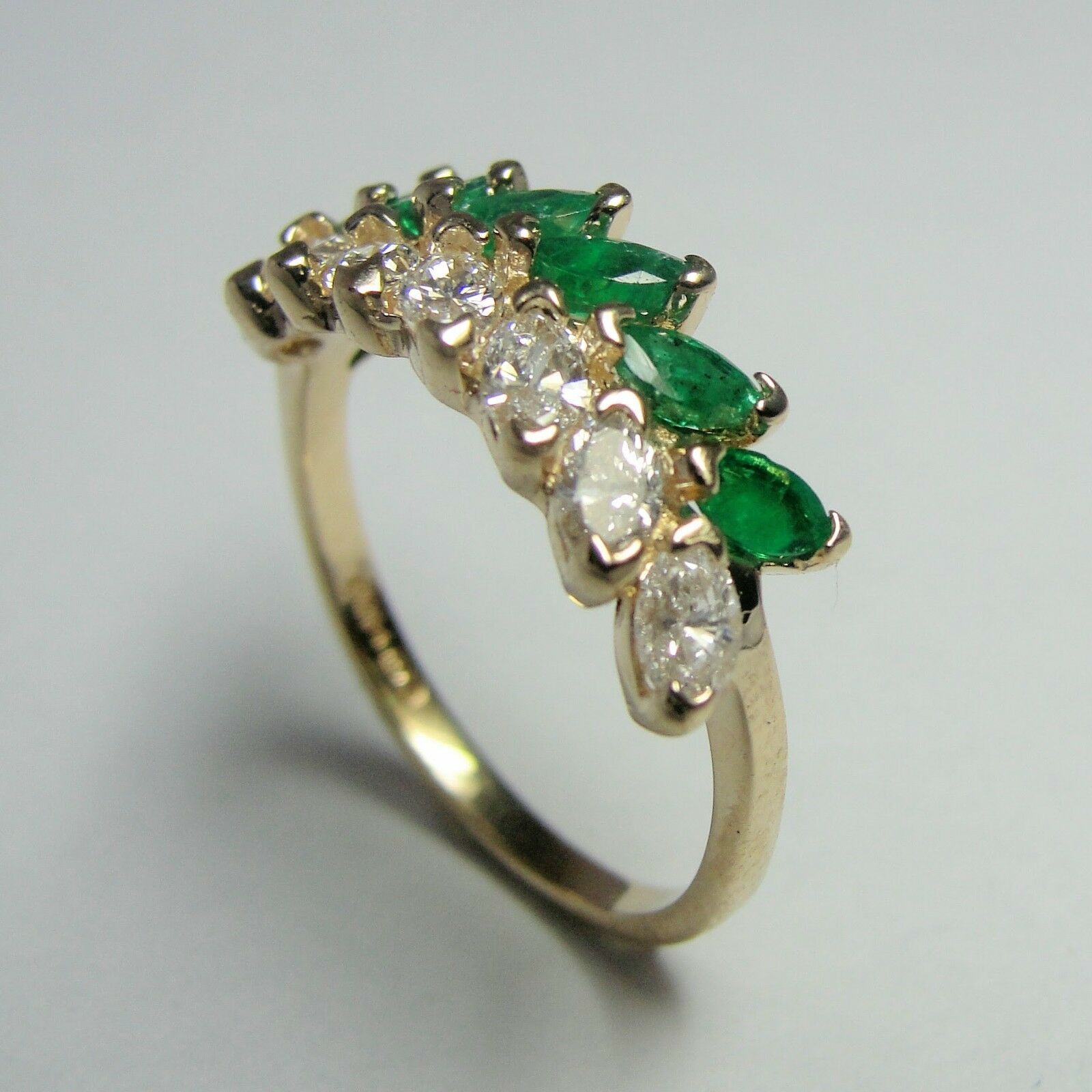 14K Yellow gold Emerald and Diamond Marquis Leaf Ring