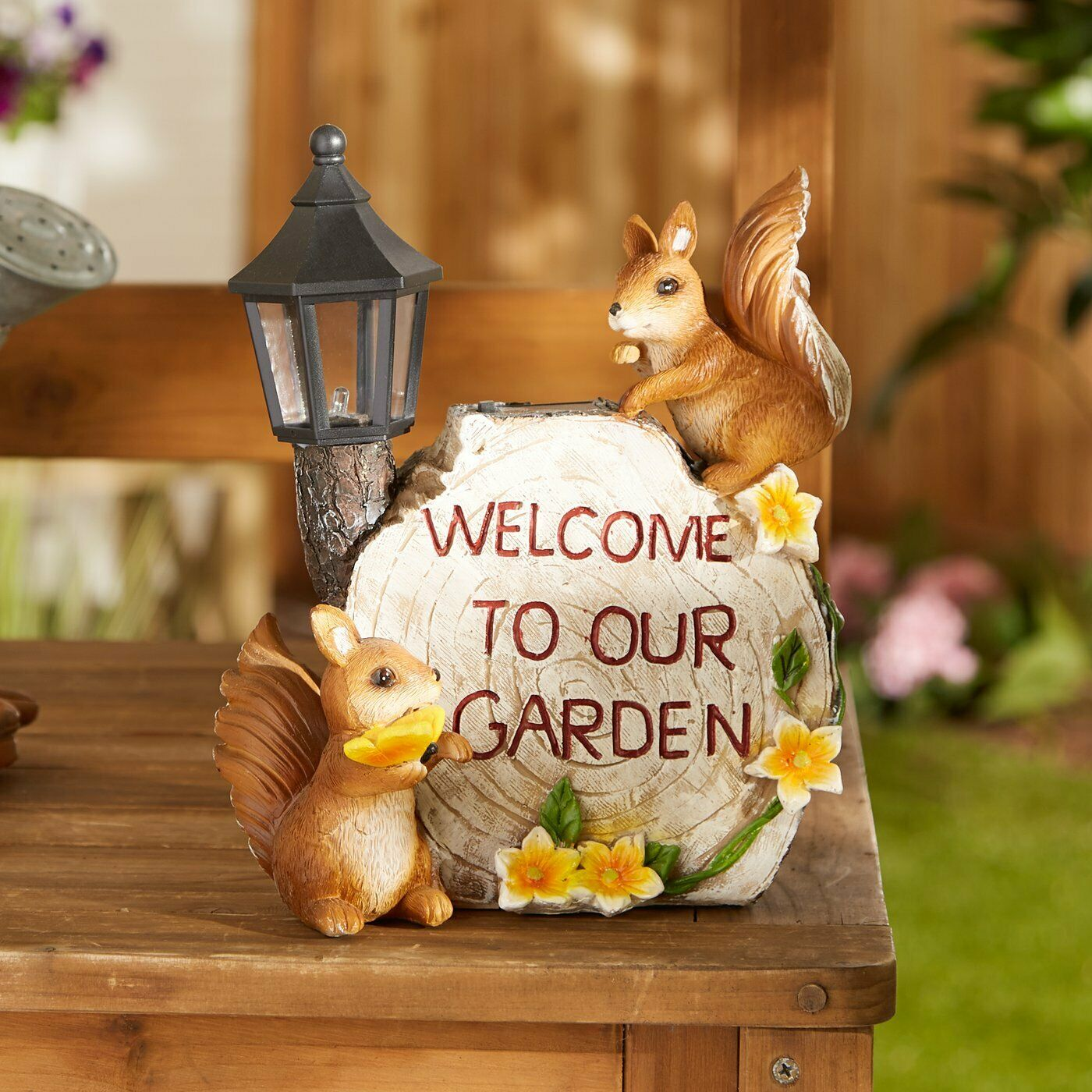 Cheer And Whimsy Brown Polyresin Solar Welcome To Our Garden Squirrels Statue