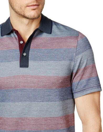 Tasso Elba Mens Classic Fit Supima Blend Stripe Polo Shirt Small Dark Combo