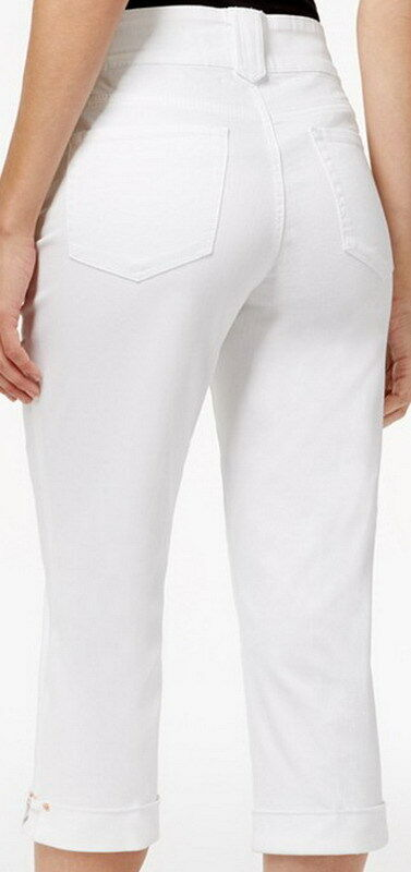Not Your Daughters Jeans NYDJ Cuff Detail Optic White Crop Jeans Size 18P